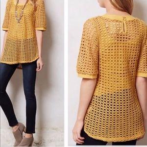 Anthropology open knit short sleeve sweater